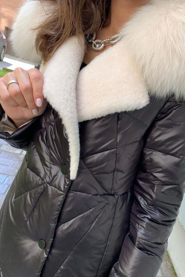 Длинная куртка с мехом песца