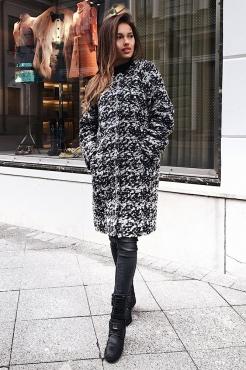 Демисезонное пальто женское с округлым воротником