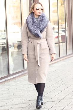 Зимнее шерстяное пальто с меховым воротником чернобурки