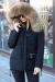 Модный пуховик черный с мехом енота