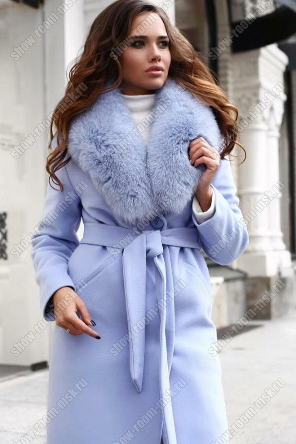 Элитное пальто с мехом песца и поясом на зиму