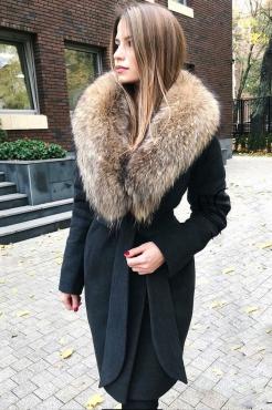 Длинное пальто из кашемира женское зима 2019 черное