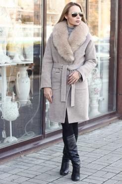 Женское шерстяное пальто с поясом прямого кроя