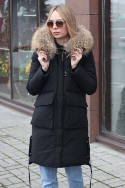 Длинный зимний пуховик оверсайз серый